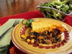 Fiesta Casserole with Cheddar Cornbread Crust