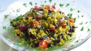 Saffron rice and bean salad