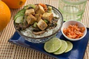 Korean Cucumber Kimchi Rice Bowls