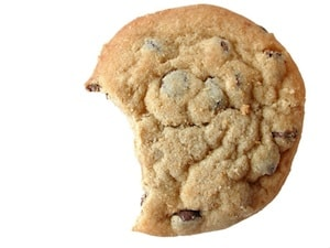 A cookie with a bite taken out of it-- a definite food foul!