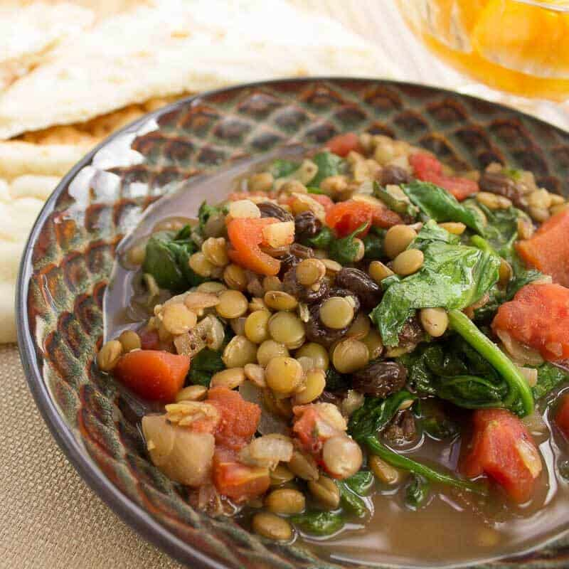 Lovely Lentils with Spinach and Tomatoes square