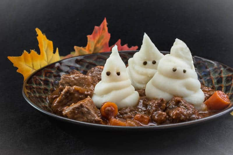 Ghostly Beef Stew Dinner Recipe for Halloween with Mashed Potato Ghosts