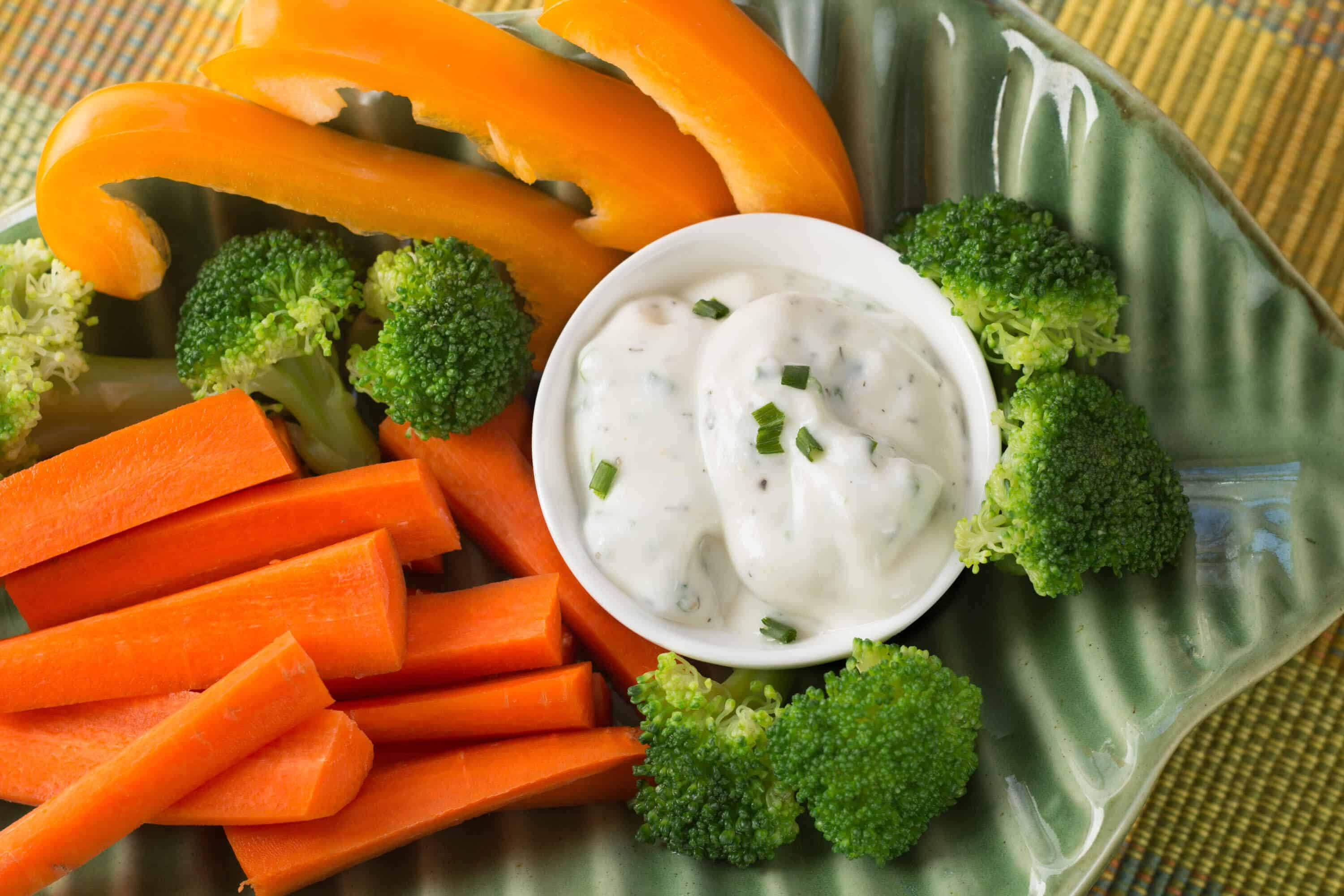 Homemade Ranch Dressing with Carrots and Broccoli for site