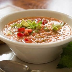 Classic Gazpacho with Diced Avocado (Cold Vegetable Soup)