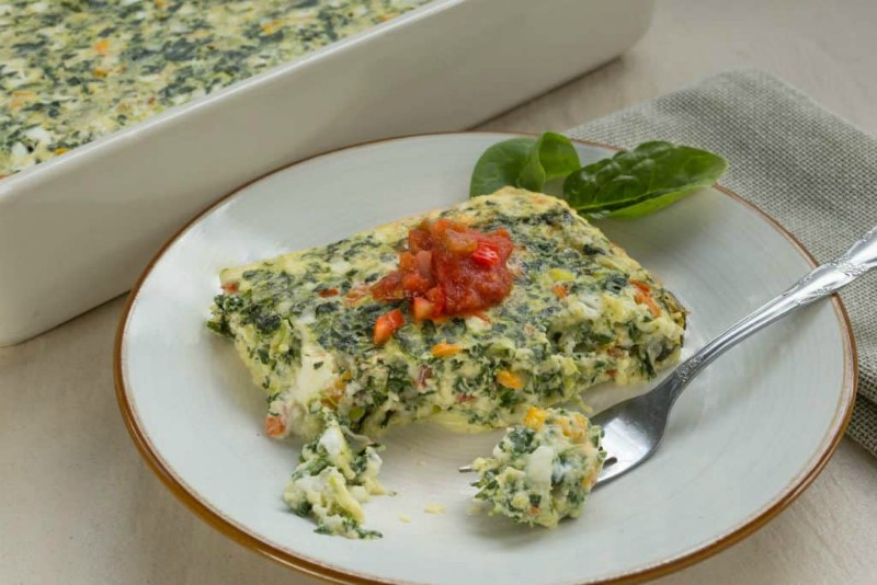 Cheesy Pepper Jack Spinach and Egg Casserole