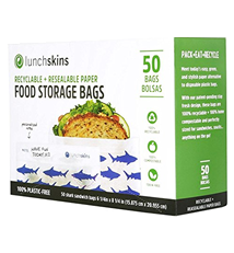 Lunchskins 100% Recyclable + Resealable Paper Sandwich Bags, Shark (Box of 50 )