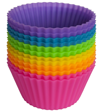 Pantry Elements Silicone Cupcake Liners Baking Cups - 12 Vibrant Muffin Molds in Storage Jar
