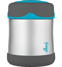 THERMOS FOOGO Vacuum Insulated Stainless Steel 10-Ounce Food Jar, Charcoal/Tea
