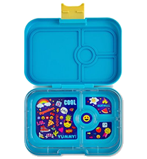 YUMBOX Panino (Kai Blue; Emoji Tray) Leakproof Bento Lunch Box Container for Kids & Adults