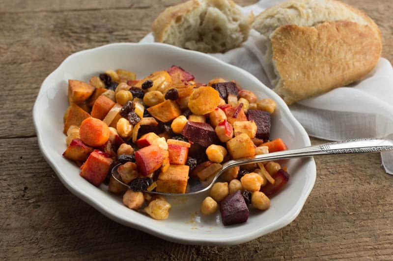Moroccan Roasted Root Vegetables with Chickpeas