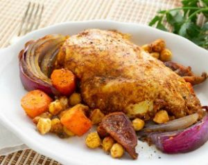 Morroccan Sheet Pan Chicken with Chickpeas and Vegetables