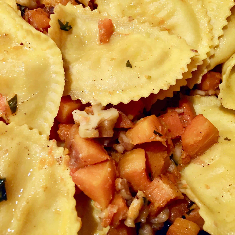 Ravioli with Butternut Squash and Walnuts
