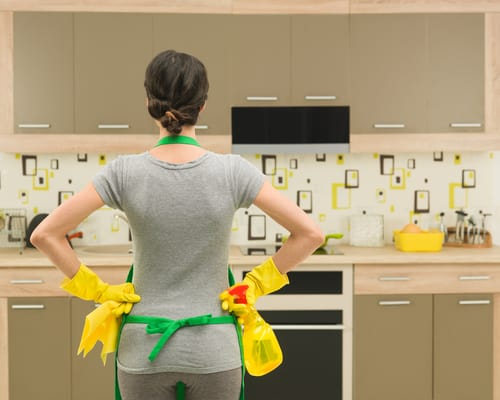Cleaning the kitchen
