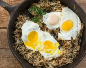 Crispy Hashbrowns with Sunny Side Up Eggs