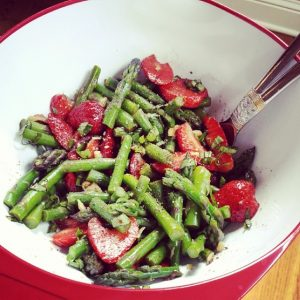 Asparagus Strawberry and Basil Salad