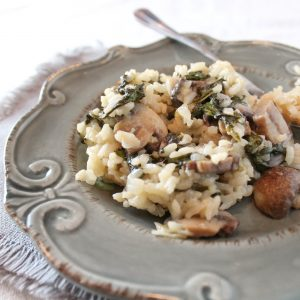 Baked Risotto with Spinach and Cremini Mushrooms