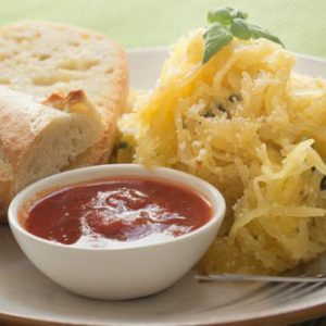 Basil Garlic Spaghetti Squash with Parmesan Cheese