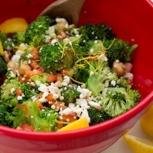 Broccoli and Chickpea Salad with Lemon Vinaigrette