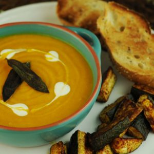 Butternut Squash and Apple Soup with Crispy Sage