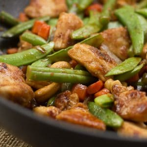 Cashew Garlic Chicken or Tofu with Sugar Snap Peas