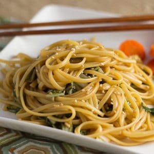 Chinese Noodles with Greens