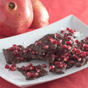 Chocolate Coconut Ginger Pomegranate Bark