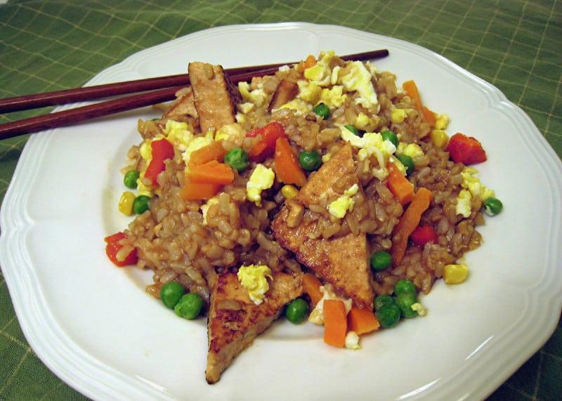 Crispy Tofu Triangles with Fried Rice
