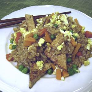 CVrispy Tofu Triangles with Fried Rice