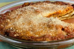 Eggplant Pie with Parmesan Crust