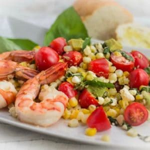 Fresh Corn, Tomato and Avocado Salad with Shrimp