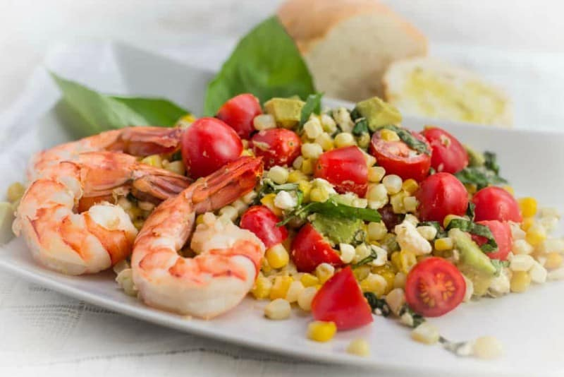 Fresh Corn, Tomato and Avocado Salad with Shrimp