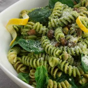 Fusilli with Pistacchio-Arugula Pesto