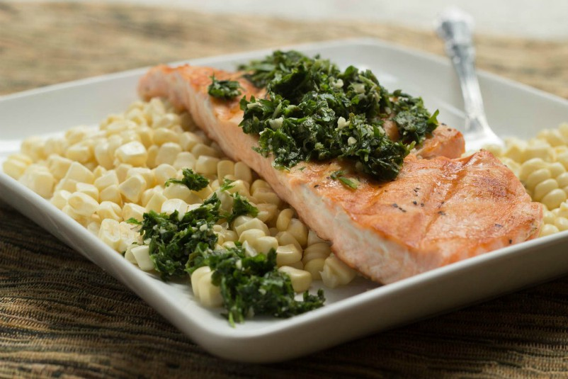 Grilled Salmon with Fresh Herb Pesto