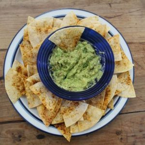 Homemade Barbeque Tortilla Chips with Avocado Smash