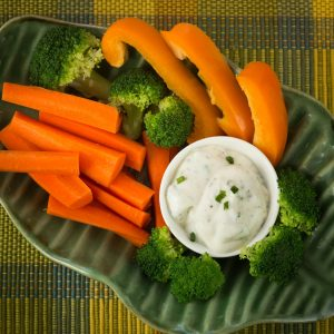 Homemade Ranch Dressing with Carrots and Broccoli