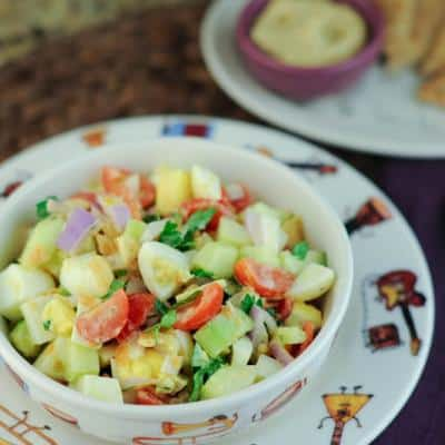 Israeli Chopped Salad with Tahini Lemon Dressing