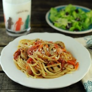 Italian Sausage Linguine with Grated Carrots