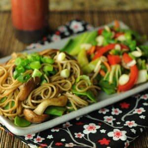 Japanese Soba Noodles with Garlic and Mushrooms