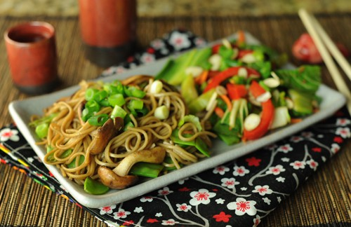 Soba Noodles With Snow Peas And Mushrooms