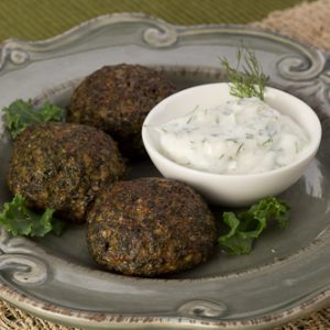 Kale Balls with Creamy Dill Sauce
