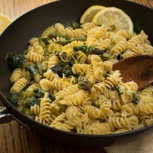 Lemon Parmesan Fusilli with Asparagus and Spinach