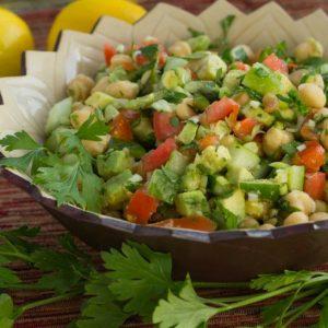 Luscious Chickpea Avocado and Cucumber Salad