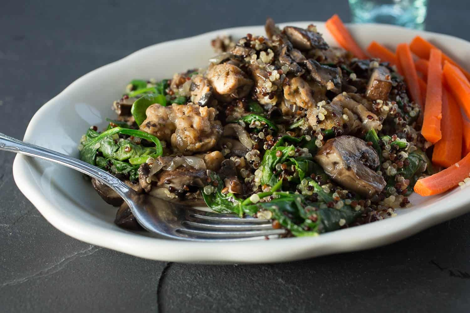 Quinoa Pilaf with Wilted Spinach and Roasted Mushrooms