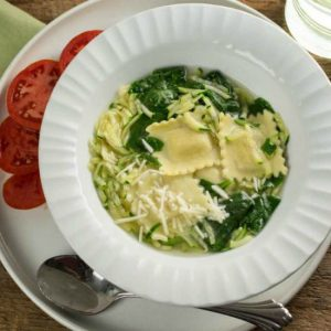 Ravioli Soup with Grated Succhini and Spinach