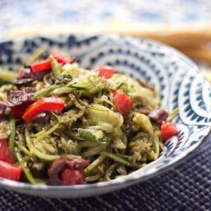 Raw Zucchini Pasta with Pesto