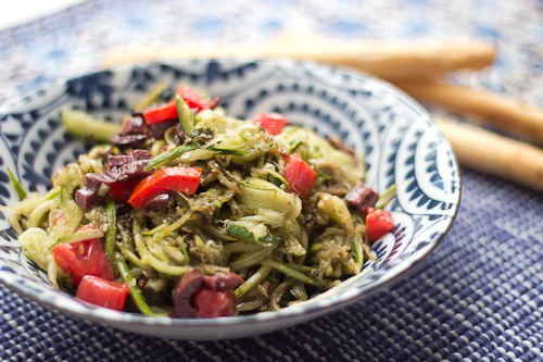 Raw Zucchini Pasta with Pesto