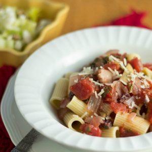 Rigatoni with Tomato-Artichoke Sauce
