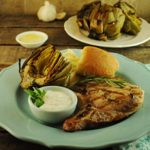 Rosemary Lemon Pork Chops with Yogurt-Feta Sauce