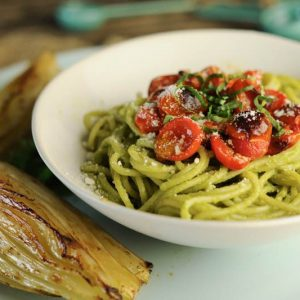Spaghetti with Creamy Avocado Pesto