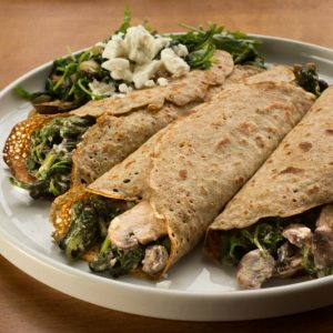 Spinach and Mushroom Whole Wheat Crepes
